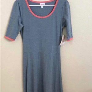 LuLaRoe Ana Dress Light Blue and Pink Size Small